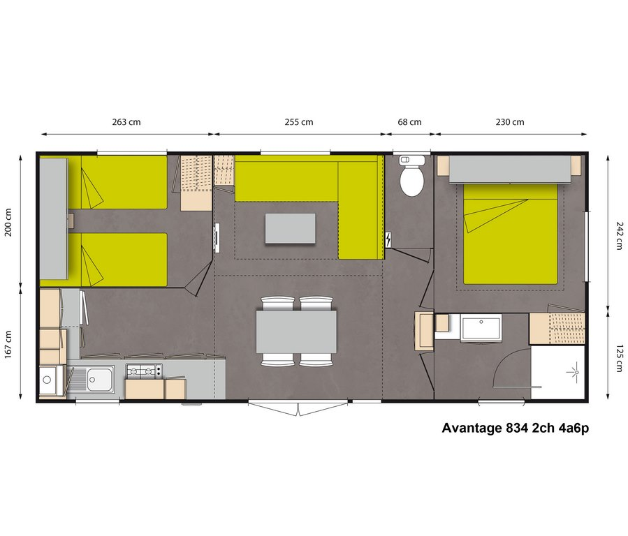 Layout Avantage 2 rooms 4/6 guests