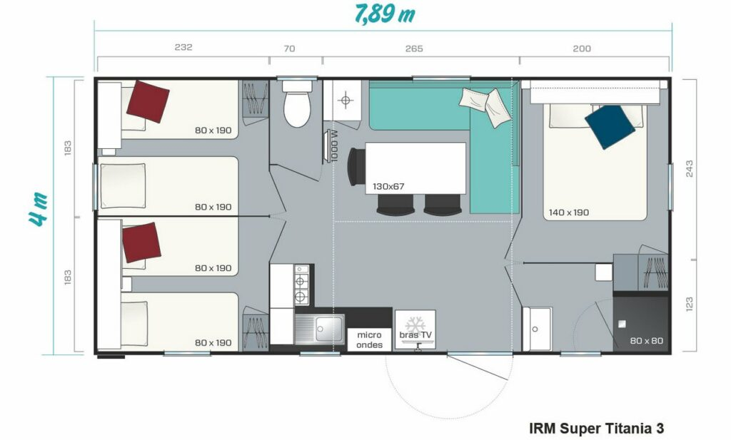 Layout Avantage 3 rooms 6 guests