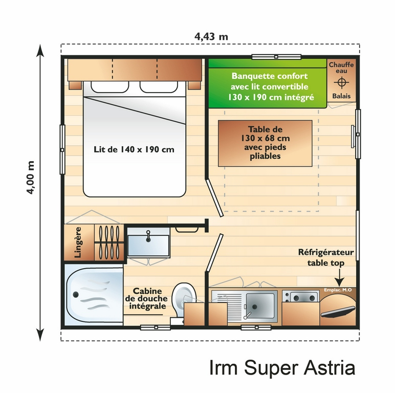 Layout Classique® 1 room 2/3 guests