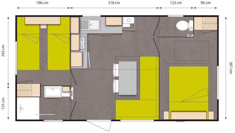 Layout Avantage 2 rooms 4 guests