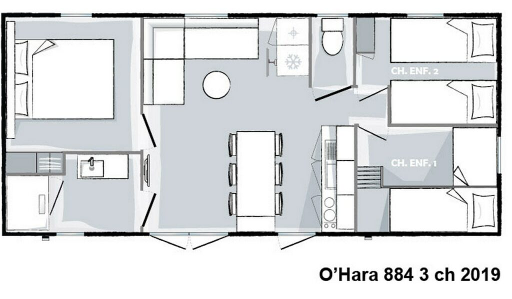 Layout Privilège® 3 rooms 6 guests
