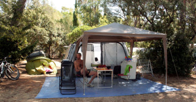Shaded pitches in a four-star campsite South of France