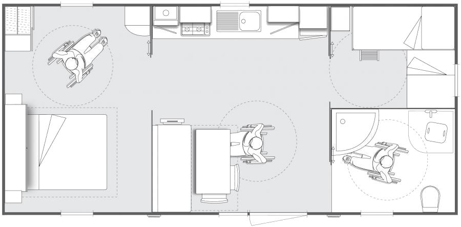 Layout Privilège® PRM 2 rooms 4/5 guests