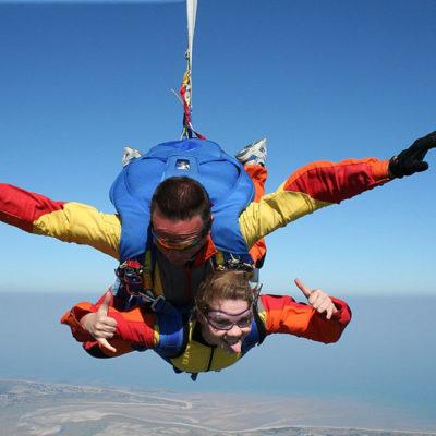 A holiday skydiving tandem jump