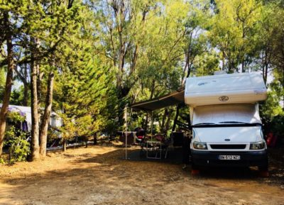 Campsite next to the beaches of the Mediterranean sea – shaded - camper van pitch