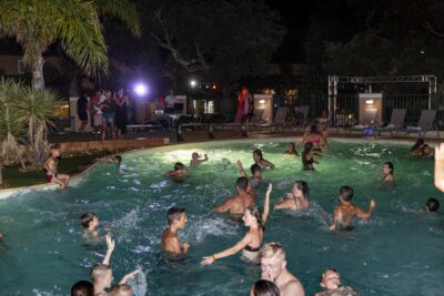 French Riviera Swimming pool evening Animation Pool party