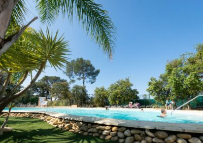 A campsite water park with palm trees just like in Hyères...